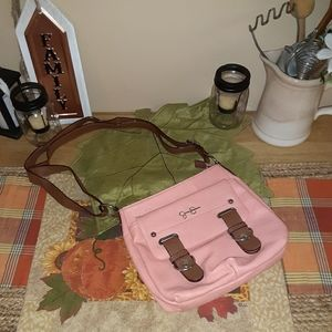 Jessica Simpson coral pink purse brown strap